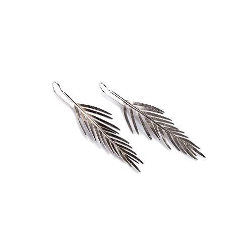Klasyczne srebrne małe kolczyki z liści palmowych Areca