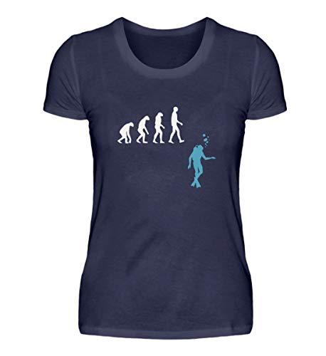 Shirtzshop - Maglietta da donna con motivo evoluzione subacquea Blu (Oxford Blue). S