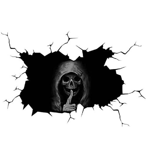 Wenyounge Halloween Black Robe Skull 3D Etiqueta de la Ventana Scary Ghost Halloween Glass Soportes Decoraciones Festival Decoración Murales Pegatinas