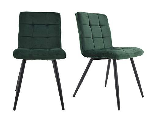 HNNHOME® - Juego de 2 sillas Cubana tapizadas con terciopelo suave y patas fuertes de metal negro p