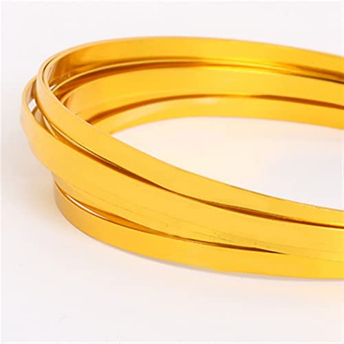 HLH Alambre plano de aluminio, artesanía de aluminio para hacer collares y pulseras, joyería de 5 mm x 1 mm (color oro)