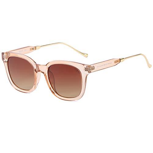 SOJOS Fashion Rechteckig Polarisierte Sonnenbrille Damen Herren Übergroß in Mode SJ2050 mit Braun Rahmen/Braun Linse