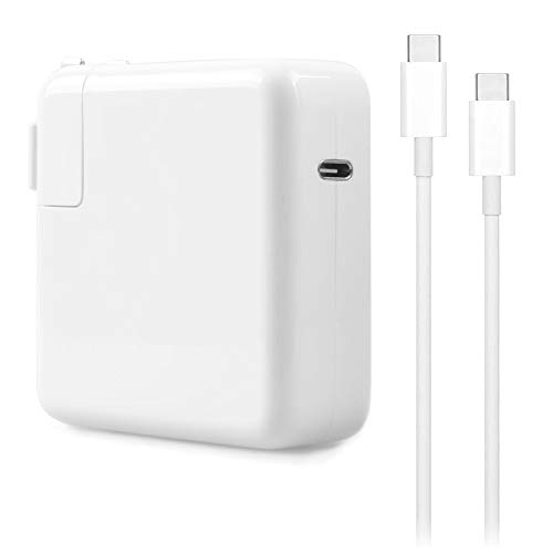 61W USB-C Charger Power Adapter Compatible with MacBook Pro/Air 13 inch 12 inch 2017 2018 2019, with USB C to C Cable (2M)
