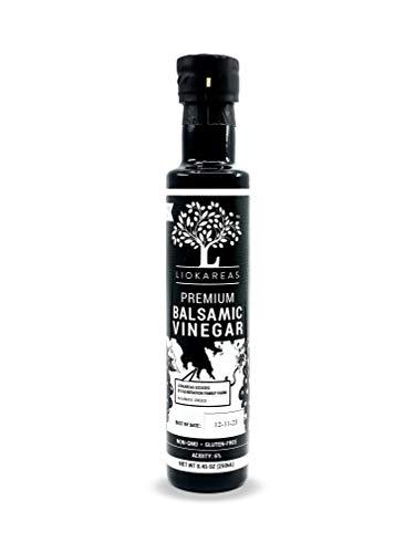 Greek Balsamic Vinegar - Organic - NonGMO - Gluten Free - Paleo - Gourmet - Thick - Rich - No Added Sugars - Classic Barrel Aged Balsamic Vinegar
