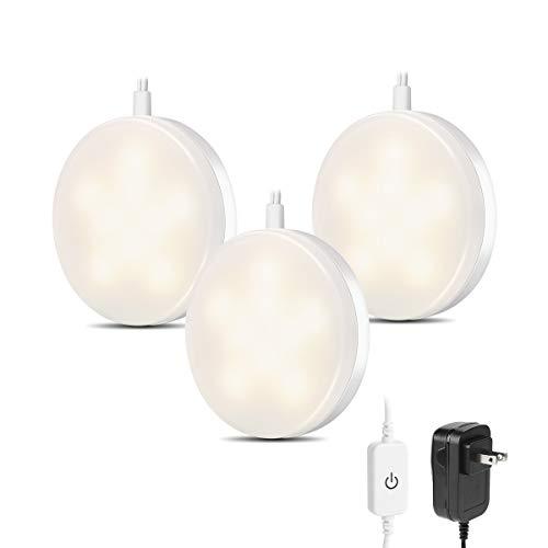 LE LED Under Cabinet Lighting Kit, 510lm Puck Lights, 3000K Warm White, Under Counter Lighting, Stick On Lights, for Kitchen, Closet Lights, Set of 3