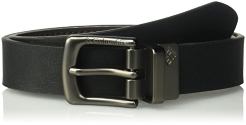 Columbia Boys' Big 1 Wide Reversible Belt with Double Stitch, Black/Brown Logo Buckle, Medium (26-28)