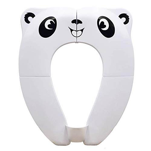 Potty Toilet Training Seat Foldable Tyry.hu Portable Toddler Kids Toilet Seats with 8 Anti Slip Silicone Pads ABS Material & 1 Carry Bag Suitable for Children Travel & Home WC Use (White)