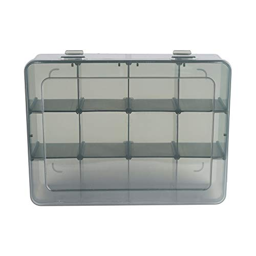 Vidifor 12 Girds Large Plastic Craft Storage Containers, Compartment Storage Container, Parts Storage Box with Adjustable Dividers for Sewing Arts, Washi Tape Batteries Electronics Parts and More