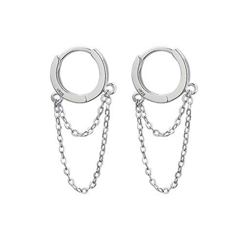 Tassel Chain Drop Dangle Small Hoop Earrings for Women Girls Men 925 Sterling Silver Huggie Helix Cartilage Tragus Daith Piercing Cuff Minimalist Fashion Personalized Punk Jewelry