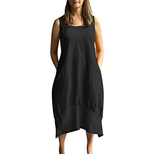 TUDUZ Vestido Mujer Suelto Casual De Gran Tamaño En Algodón y Lino De Color Liso