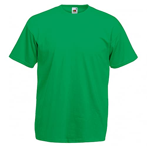 Fruit of the Loom - Camiseta Básica de Manga Corta Modelo Valueweight - Hombres (S/Verde Kelly)