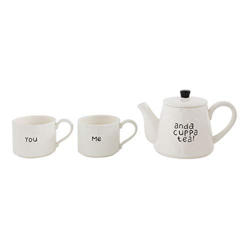 Creative Co-Op'You Me and a Cuppa Tea' White Stoneware Teapot with 2 Mugs