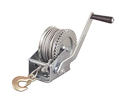 Hand Crank Cable Winch 1200lb Boat Jet Ski ATV Trailer Towing Geared Steel