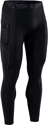 TSLA Dri Fit Kompressionsunterwäsche Aktive Workout Sport-Leggings für Herren, Mup49 1pack - Black, M