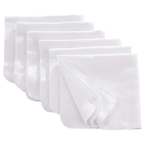 Bornino Flanelltücher (6er-Pack) 40x40 cm - Moltontücher weich, wärmend & saugfähig - vielseitig einsetzbare Tücher aus Flanell - weiß