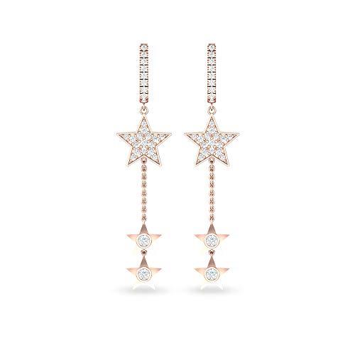 Aretes colgantes con diseño de estrella de diamante certificado IGI de 0,32 quilates, oro sólido de 14 quilates, pendientes de cadena larga celeste, novias, bodas, 14K Oro rosa, Par