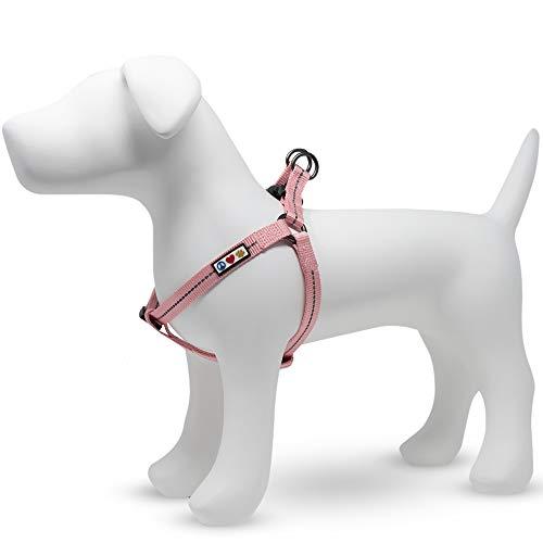 Pawtitas  Arnes para Perro Reciclado con Costura Reflectante | Arnes para Cachorros Hecho de Botellas de plástico recogidas del Oceano - Arnes Flor de Cerezo Rosa Pequeño