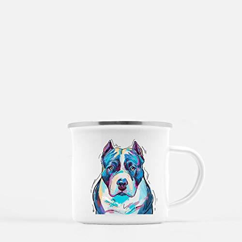 Enamel Mug 10oz Metal Camp Mug Pitbull Mug Personalized Stainless Steel Enamel Gift For Him Her For Camping Mountains Vanlife Outdoorshome
