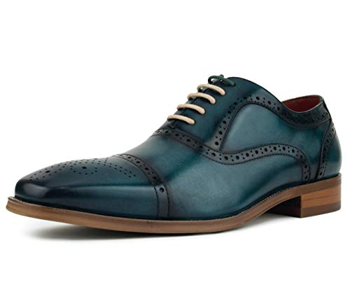 Asher Green AG114 - Men's Dress Shoes - Genuine Leather Cap Toe Oxfords, Lace Up Mens Dress Shoes - Unique Decorations and Broguing, Teal, Size 10