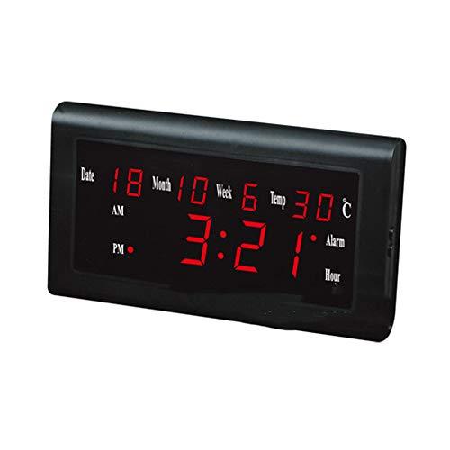 MJ-Alarm Clock Réveil, Affichage muet de Calendrier de thermomètre de Calendrier de température de Date de LED avec la lumière de Nuit de Digital