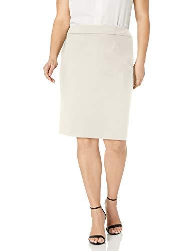 Calvin Klein Women's Straight Fit Suit Skirt (Regular and Plus Sizes), Cream, 6