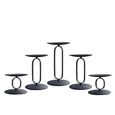 """smtyle Candle Holders Set of 5 Candelabra with Iron-3.5"""" Diameter Ideal for Pillar LED Candles Round Black by CRZM"""