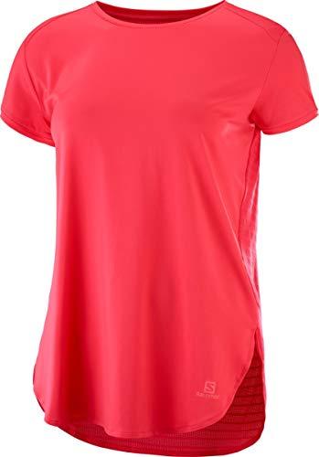 Salomon, Damen Kurzarm-Shirt, Comet Breeze Tee, Polyester, Rosa-Rot (Hibiscus), Größe: S, LC1020700