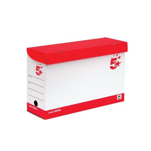 1135d0fb1206 5 Star Office Transfer Case Hinged Lid Foolscap Red and White  Pack 20