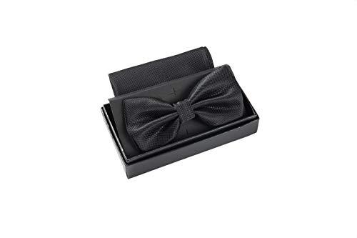 Massi Morino ® Herrenfliegen Set mit Tuch in Schwarz Männer Anzug Schleife Krawattenfliege fliegeschwarz schwarzefliege black Trauer Beerdigung trauerkleidung Smoking klassischefliege