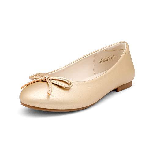 DREAM PAIRS KFL216 Girls Dress Shoes Fashion Bow Ballet Flats Gold 4 Big Kid