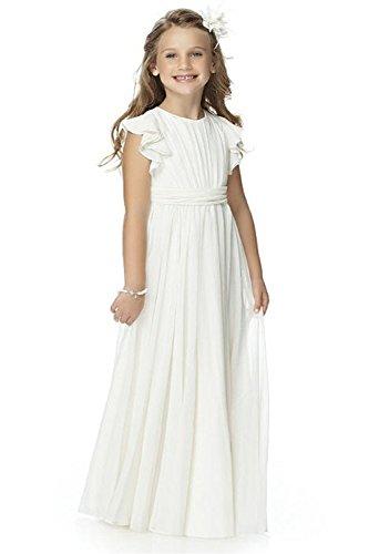 Babyonlinedress® Mädchen Kleid Pinzessin Blumen-Mädchen Kinder Weiß Kleid Hochzeit Festkleid Kommunionkleid Weiß 10~11 Jahre