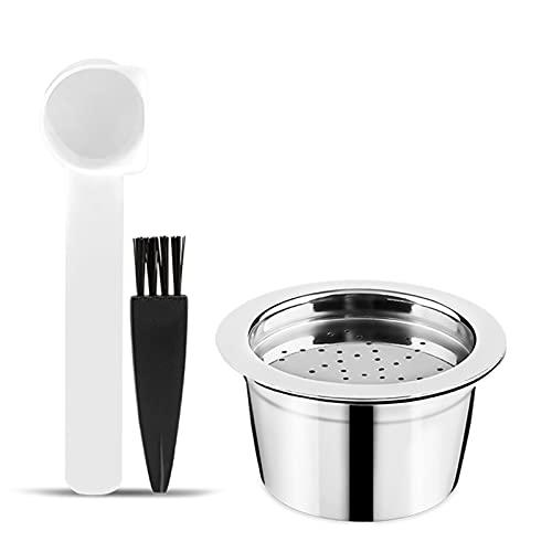 Zwbfu Cápsulas de café, de acero inoxidable, recargables, con cepillo de cuchara, para máquinas...