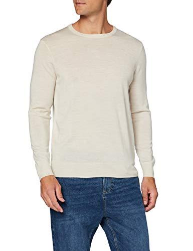 Amazon-Marke: MERAKI Merino-Pullover Herren mit Rundhals, Beige (Haferflocken), XL, Label: XL