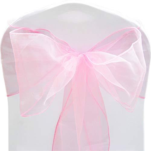 Time to Sparkle 100X Organza Schleife 22x280cm Stuhlhussen Stuhl Schärpe Band Organza Schleifenband -Baby Pink