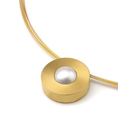Heideman Halskette Damen Lumen aus Edelstahl Gold farbend matt Kette für Frauen mit Swarovski Stein Kristall im Fantasie Edelsteinschliff 10mm