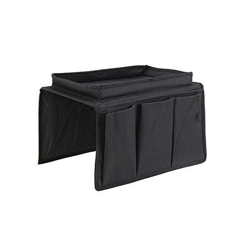 epoxios Organizador de reposabrazos para sofá con 4 bolsillos y portavasos, bandeja para sofá, sillón y bolsa de almacenamiento para TV con control remoto y teléfono móvil (negro)