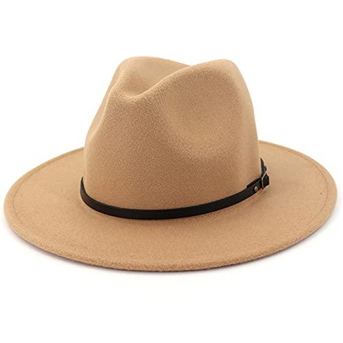 Lisianthus Women Wide Brim Wool Fedora Panama Hat with Belt Buckle A-Camel