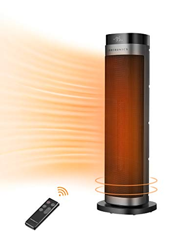 "TaoTronics PTC Space Heater, 1500W Fast Heating Ceramic Tower Fan Heater, 24"" High Oscillating Portable & Quiet with Remote ECO Mode 12H Timer Tip-Over Switch Overheating Protection LED Display"