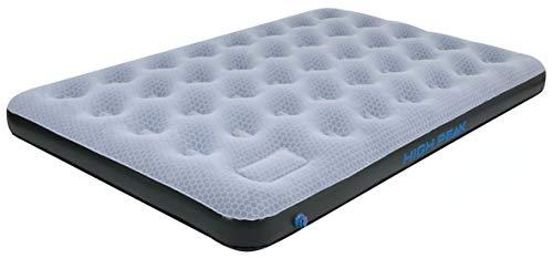 High Peak Unisex Double Comfort Plus Luftbett, mit integrierte Fußpumpe und Anti-Rutsch Funktion, atmungsaktiv, für Indoor und Outdoor, grau/blau/schwarz, XL