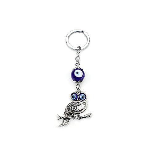 LZHLMCL Women Keyrings Keychains Owl Keychain Antique Silver Plated Owl Keychain Glass Evil Eye Beads Keyring For Women Men Jewelry