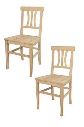 Tommychairs - 2er Set Stühle Artemisia für Küche und Esszimmer, robuste Struktur aus poliertem Buchenholz, unbehandelt und 100% natürlich, Sitzfläche aus poliertem Holz