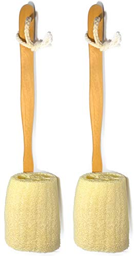 2 Pack Natural Exfoliating Loofah luffa loofa Bath Brush On a Stick - With Long Wooden Handle Back Brush For Men & Women - Shower Sponge Body Back Scrubber