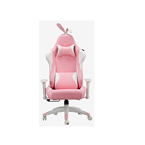 Silla de oficina para juegos, respaldo alto ajustable, silla de oficina para casa Girl color rosa, silla de ancla, silla de juego, silla para la dirección, silla para la nieve, conejo, silla