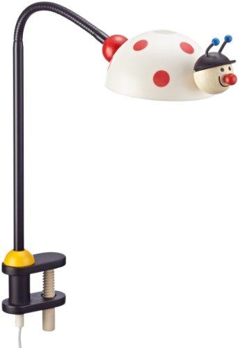 Niermann Standby 226 Klemmleuchte Leuchtkäfer, Flexrohr ca. 50 cm, Klemme aus Holz, Schirm aus bruchsicheren Polycarbonat,1 G4 - 20Watt, inklusive Leuchtmittel, 12 Volt Steckertrafo, ca 150 cm Zuleitung mit Zwischenschalter, Made in Germany