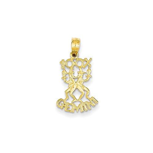 Collar con colgante de oro amarillo de 14 quilates con textura pulida en la parte posterior 100% Gemini, regalo de joyería para mujeres