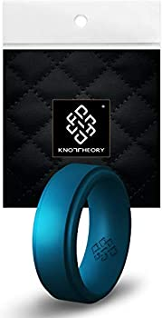 Knot Theory Breathable Mens Silicone Ring Metal Teal for Him - Step Edge Size 10 9mm Rubber Wedding Band - Gym Workout Crossfit Weight-Lift Training Baseball Football Soccer Sports