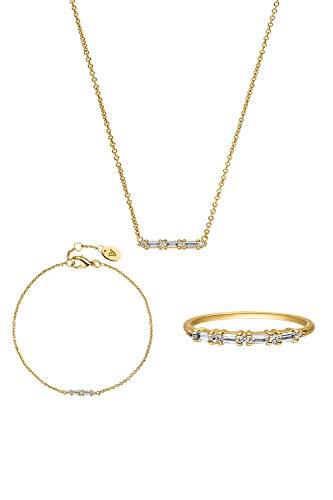 PAUL VALENTINE  Joyas para mujeres - Barstone collar, brazalete y anillo de oro - Oro de 18K - Con circonia de calidad superior - Joyas para mujeres