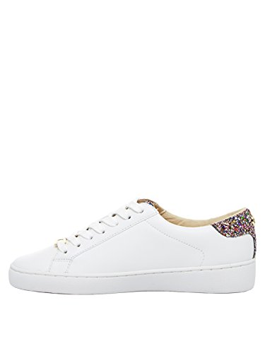 Michael Kors Scarpe Donna Sneakers Irving Lace Up Leather White Optic Gold Pelle