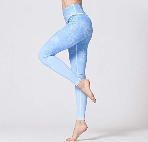 Ropa Interior Azul Cielo Flores Blancas Pantalones De Yoga para Mujer Impresión Digital Leggings 3D Fitness Running Tights-L