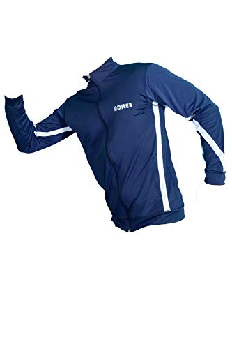Adilee Men Polyster Slim Fit Training Sporty Jackets Stretchable, Comfortable & Absorbent Gym Workout Zip Closure for Casual Wear, Blue